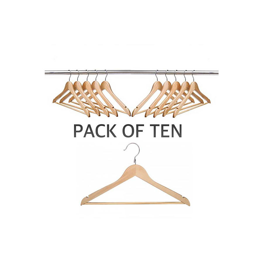 SET OF TEN WOOD HANGERS