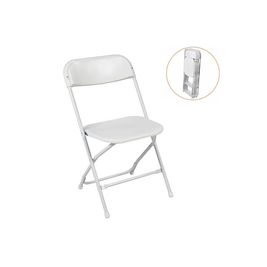 WHITE METAL FOLDING CHAIR WITH PLASTIC SEAT AND BACK