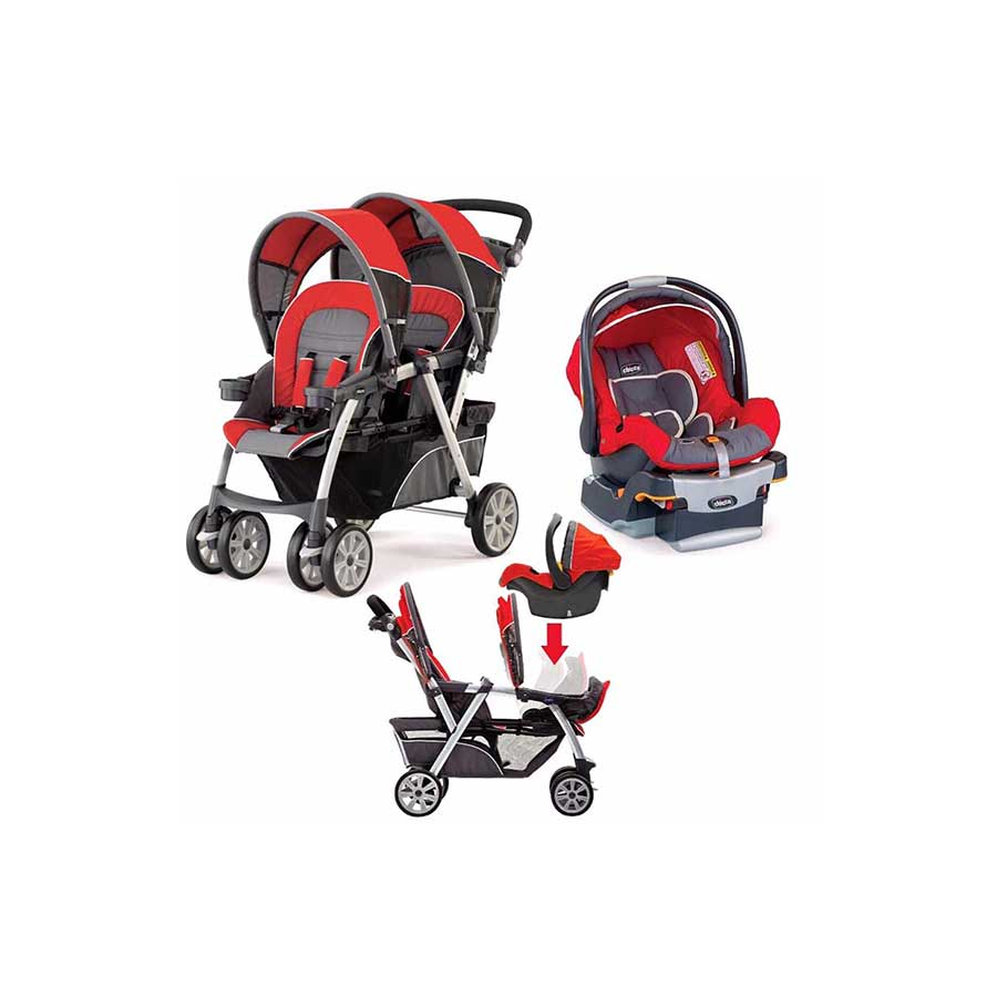 CHICCO CORTINA DOUBLE STROLLER/CHICCO INFANT CAR SEAT TRAVEL SYSTEM
