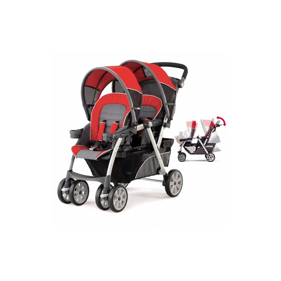 CHICCO CORTINA F&B STADIUM-STYLE DOUBLE STROLLER