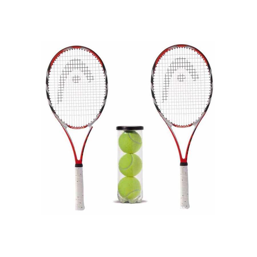 2 TENNIS RACKETS WITH 3 TENNIS BALLS
