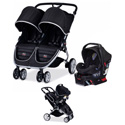 BRITAX B-AGILE DOUBLE STROLLER AND B-SAFE INFANT CAR SEAT TRAVEL COMBO SET