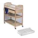WOOD CHANGING TABLE INCLUDING PAD WITH SAFETY STRAP