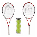 2 TENNIS RACKETS WITH 3 TENNIS BALLS